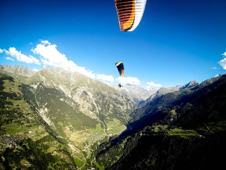 paraglider taking off Verbier