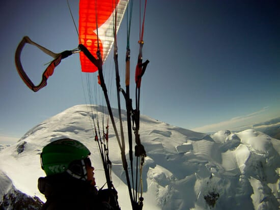 Paragliding over the summit of Mont Blanc